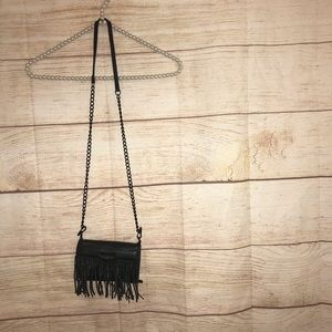Rebecca minkoff mini black fringe purse